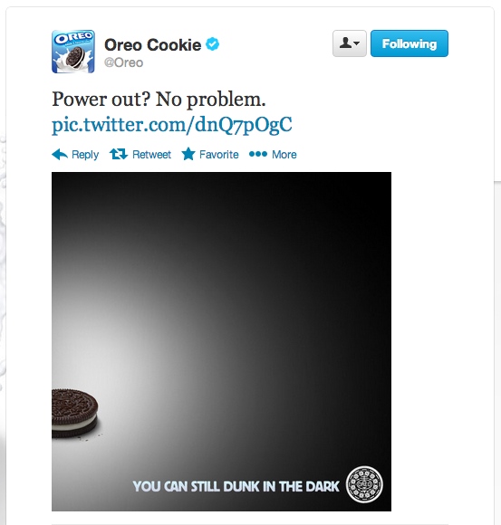 melhores campanhas nas redes sociais | Oreo Super Bowl Tweet