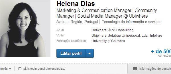 Helena Dias | Otimizar o perfil do LinkedIn