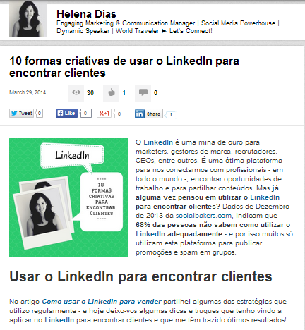 Publicar artigos no LinkedIn | Artigo no LinkedIn Publishing Platform