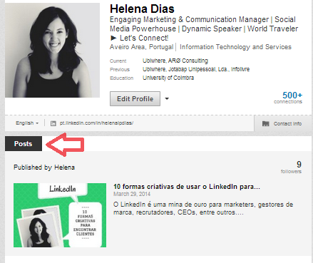 Publicar artigos no LinkedIn | Posts no Perfil do Utilizador
