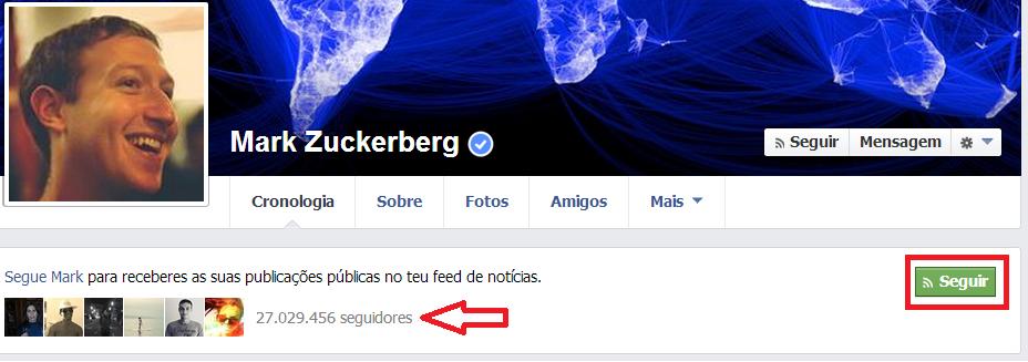 Usar o perfil pessoal do Facebook para negócios | Seguir no Facebook Exemplo