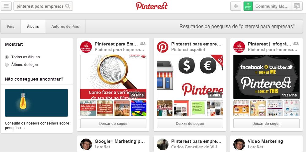 Usar o Pinterest para Empresas | Utilize palavras-chave nos títulos dos álbuns
