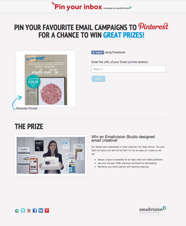 Aumentar a interação no Pinterest - Concurso da EmailVision Pin your Inbox