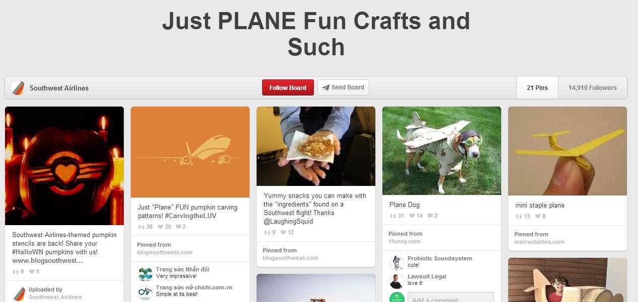 Aumentar a interação no Pinterest - Southwest Airlines no Pinterest