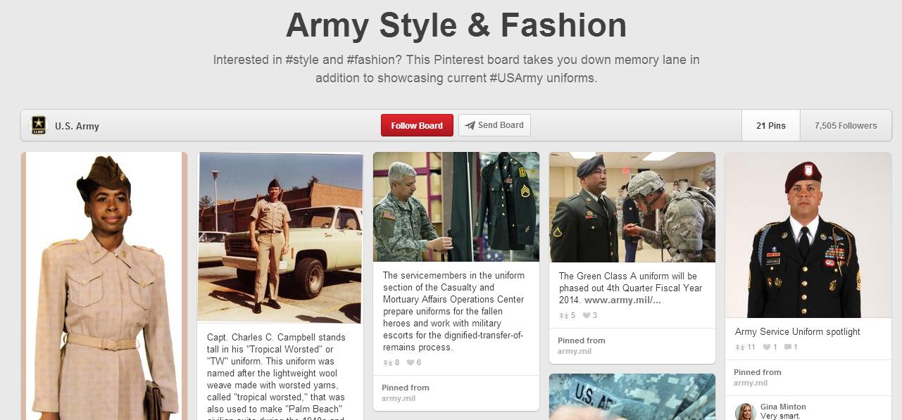 Aumentar a interação no Pinterest - US Army no Pinterest