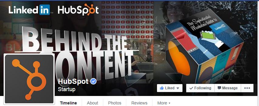 A HubSpot utiliza o espaço da capa do Facebook para promover ebooks, eventos e outros recursos de marketing da empresa.