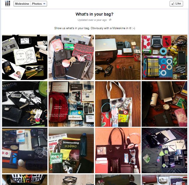 Aumentar a Interação no Facebook - Whats in your Bag da Moleskine