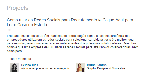 4 formas de usar o LinkedIn como Ferramenta de Marketing - Seção de Projectos no LinkedIn