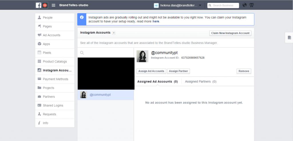 Associar uma conta do Instagram ao Business Manager