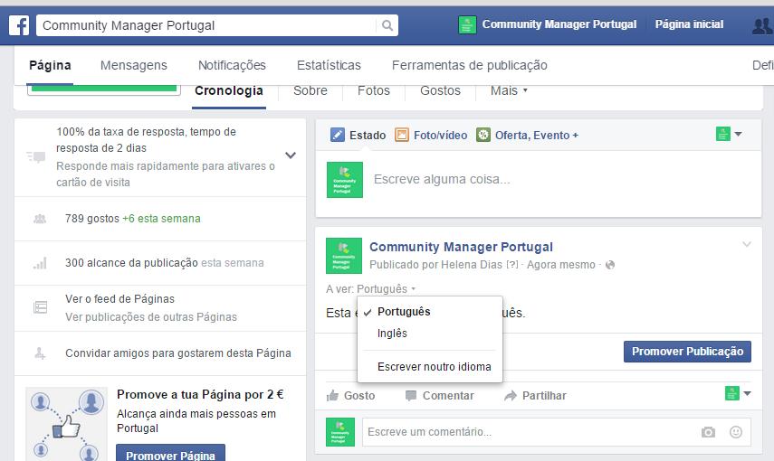 Publicar no Facebook em Múltiplas Línguas