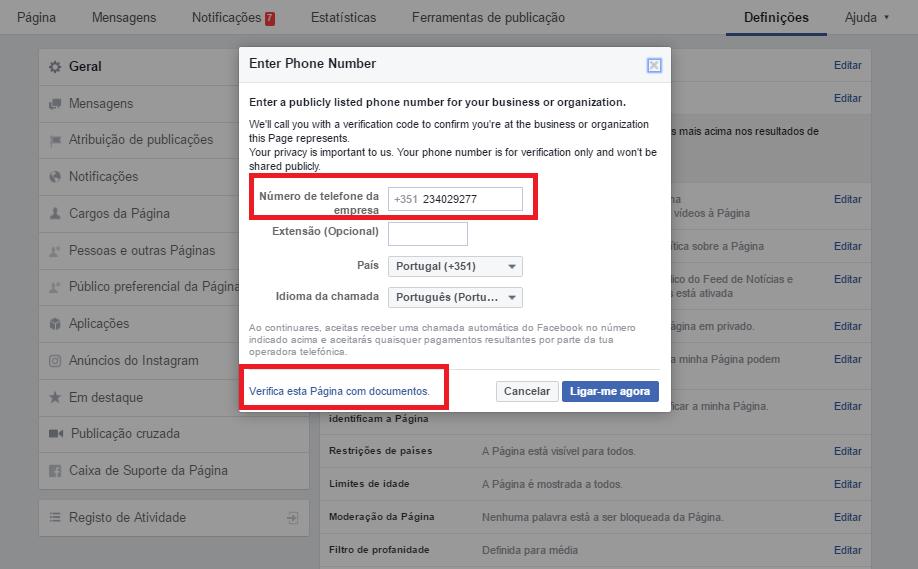 verificar uma página do facebook