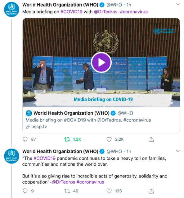 Live tweeting nas conferências de imprensa da WHO (World Health Organization).